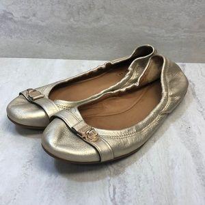 Coach Delphine Gold Flat Size 7